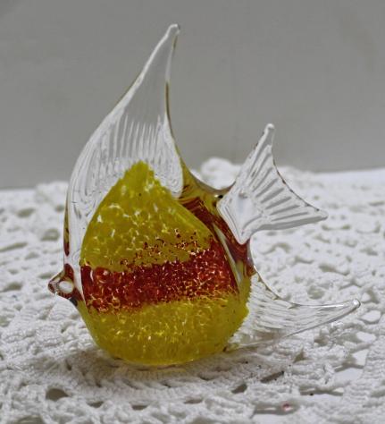 Vintage Art Glass Yellow & Orange Encased In Clear Glass Fish Figurine/Paperweig