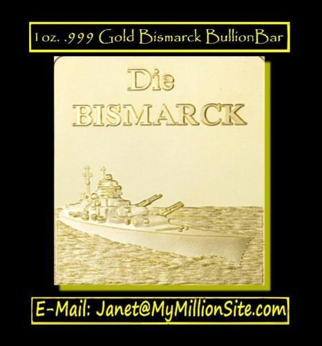 1 OZ 24K GOLD BISMARCK LAYERED BULLION BAR
