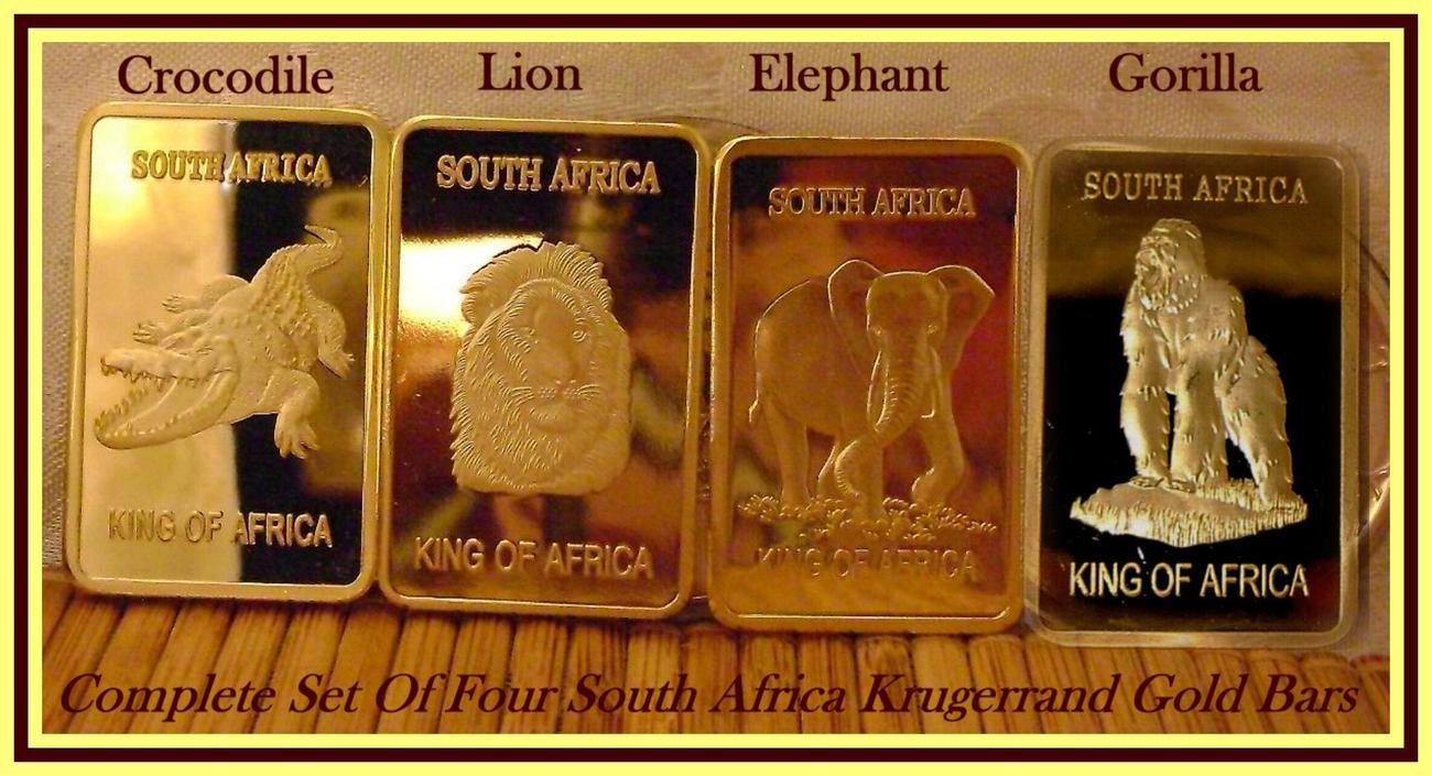 South Africa Krugerrand Elephant 1 Troy oz. .999 Fine 24K Gold Bullion Clad Bar
