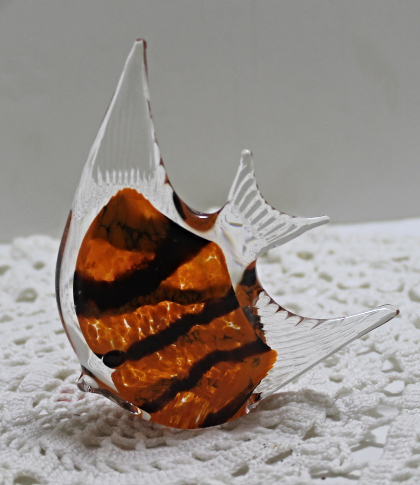 Vintage Art Glass Orange & Black Encased In Clear Glass Fish Figurine/Paperweig
