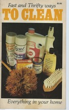 Fast and Thrifty Ways to Clean Everything In Your Home by Ventura (1983 PB) - $4.97