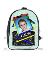 Green Personalized 100% Genuine Leather Double Zippered School Backpack ... - $27.99+