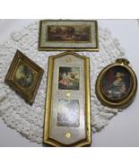 Set of Four Vintage Italian FLORENTINE Gold Gilt Wood Plaques - $20.00