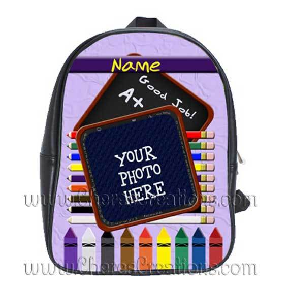 Purple Personalized 100% Genuine Leather Double Zippered School Backpack 3 Sizes