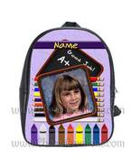 Purple Personalized 100% Genuine Leather Double Zippered School Backpack... - $27.99+