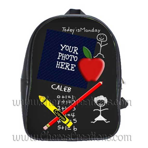 Chalkboard Personalized 100% Genuine Leather Double Zippered School Backpack