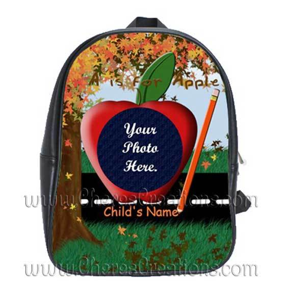 Fall Tree Personalized 100% Genuine Leather Double Zippered School Backpack