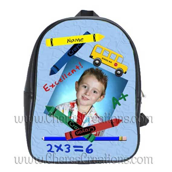 Blue Personalized 100% Genuine Leather Double Zippered School Backpack 3 Sizes