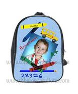 Blue Personalized 100% Genuine Leather Double Zippered School Backpack 3... - $27.99+