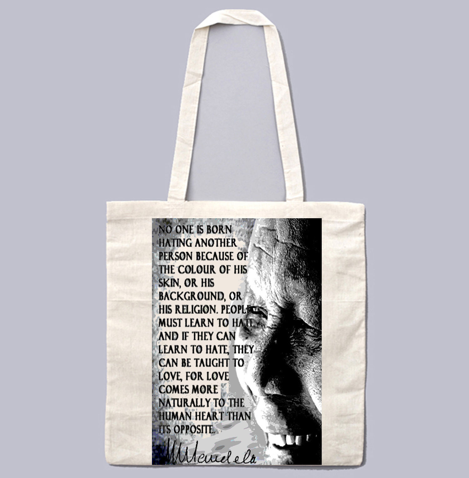 NELSON MANDELA NO ONE IS BORN QUOTE- NEW AMAZING GRAPHIC WHITE HAND BAG/TOTE BAG