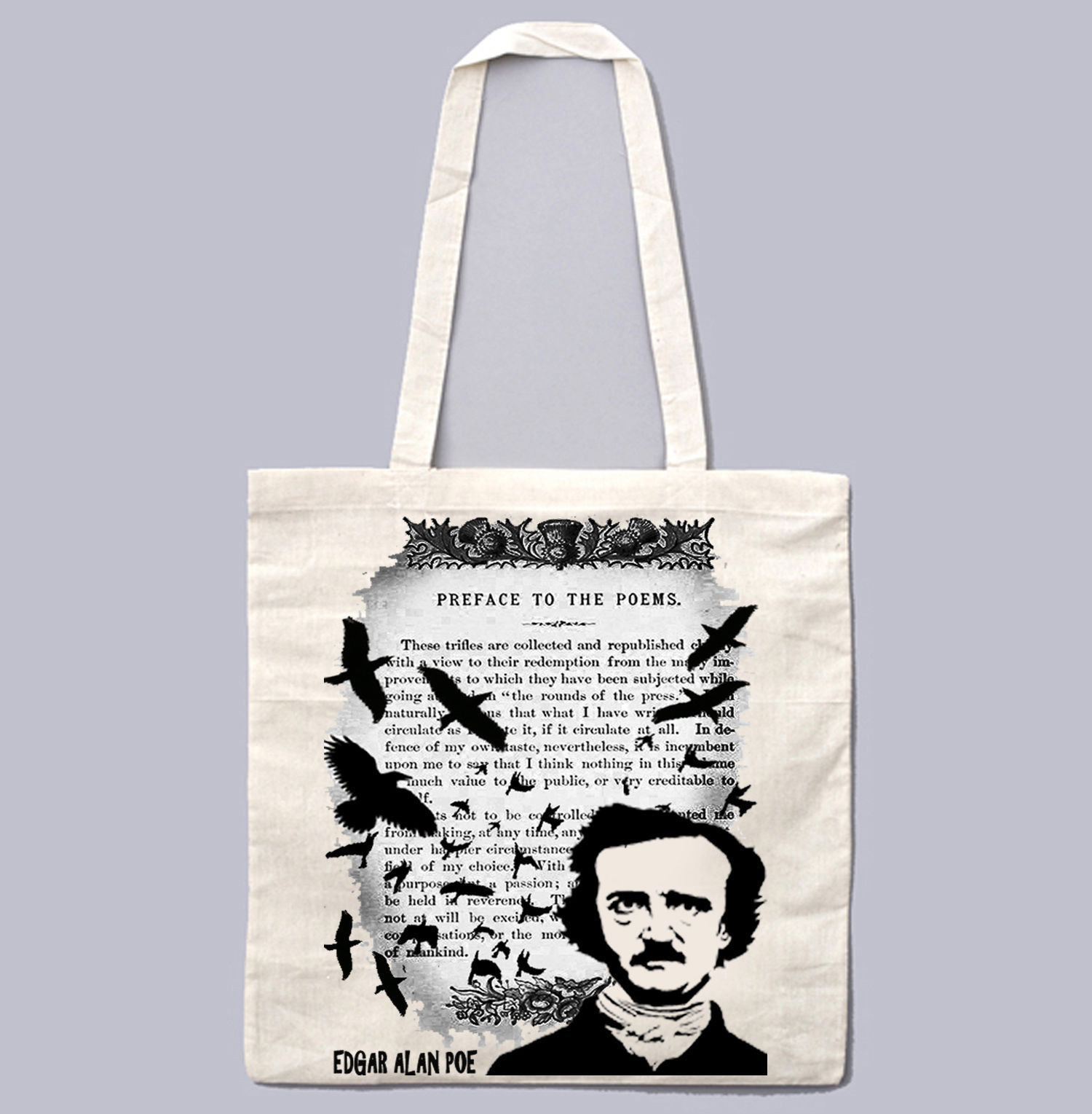 EDGAR ALAN POE POEMS - NEW AMAZING GRAPHIC WHITE HAND BAG/TOTE BAG