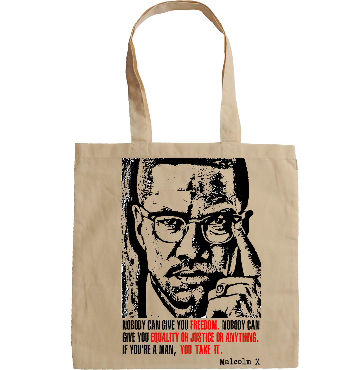 MALCOLM X QUOTE - NEW AMAZING GRAPHIC HAND BAG/TOTE BAG