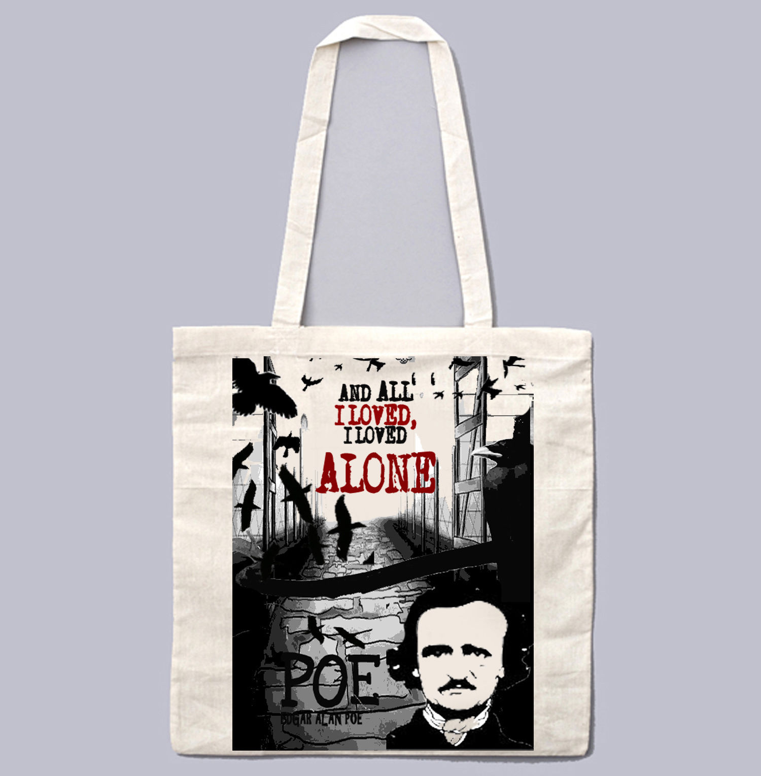 EDGAR ALAN POE I LOVED ALONE - NEW AMAZING GRAPHIC WHITE HAND BAG/TOTE BAG