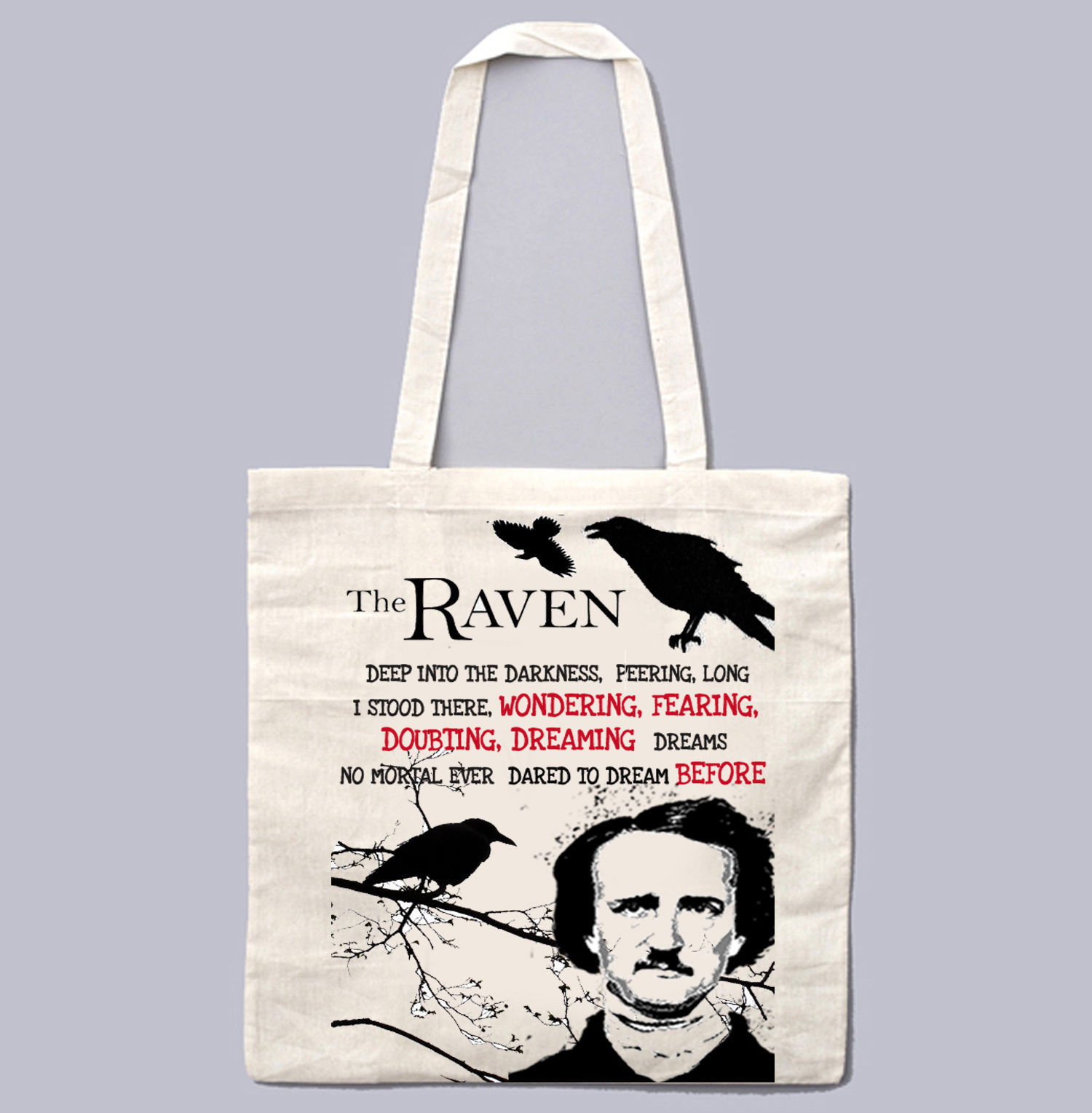 EDGAR ALAN POE TO THE RAVEN 1 - NEW AMAZING GRAPHIC WHITE HAND BAG/TOTE BAG