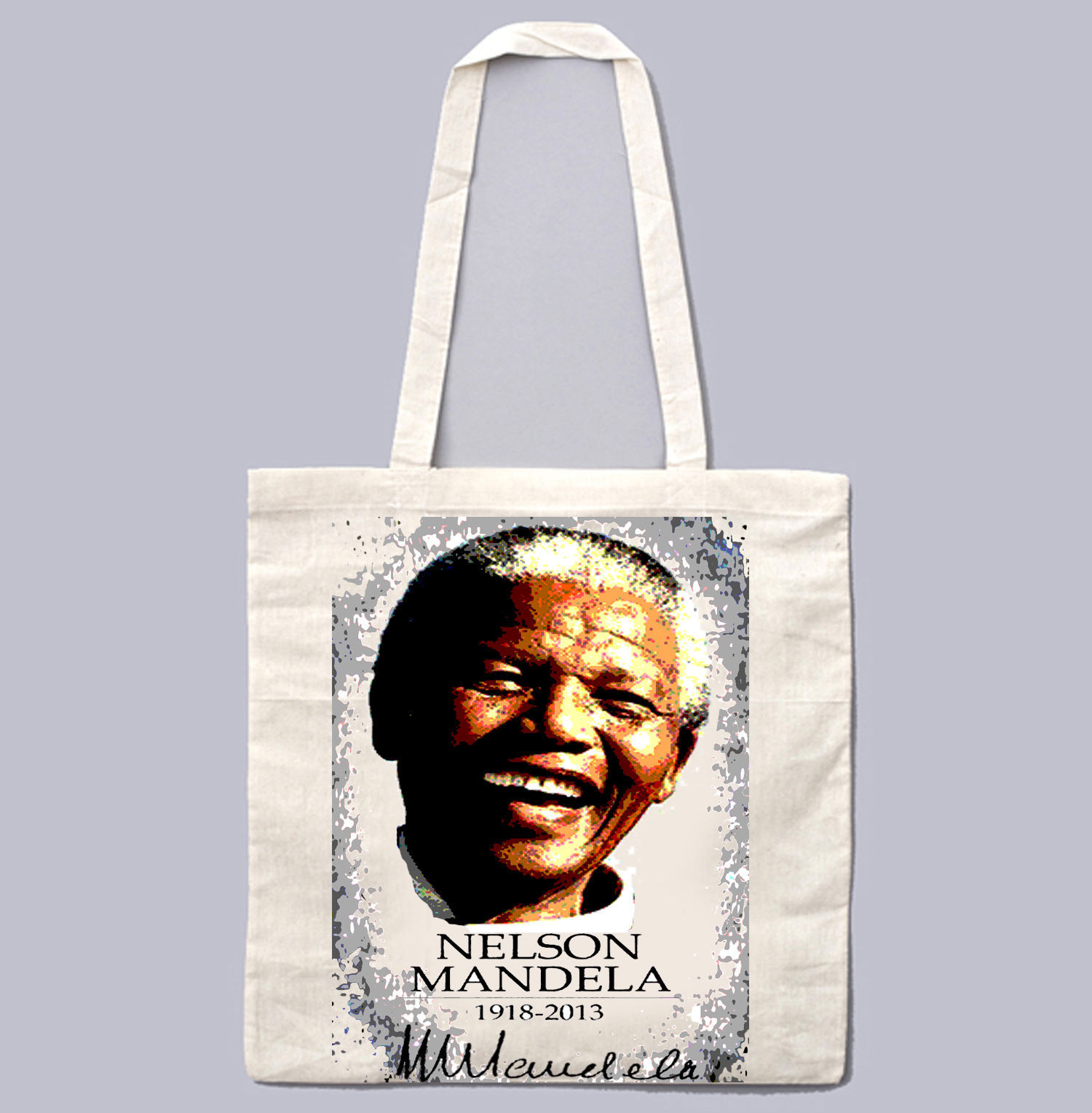 NELSON MANDELA 1918-2013 - NEW AMAZING GRAPHIC WHITE HAND BAG/TOTE BAG