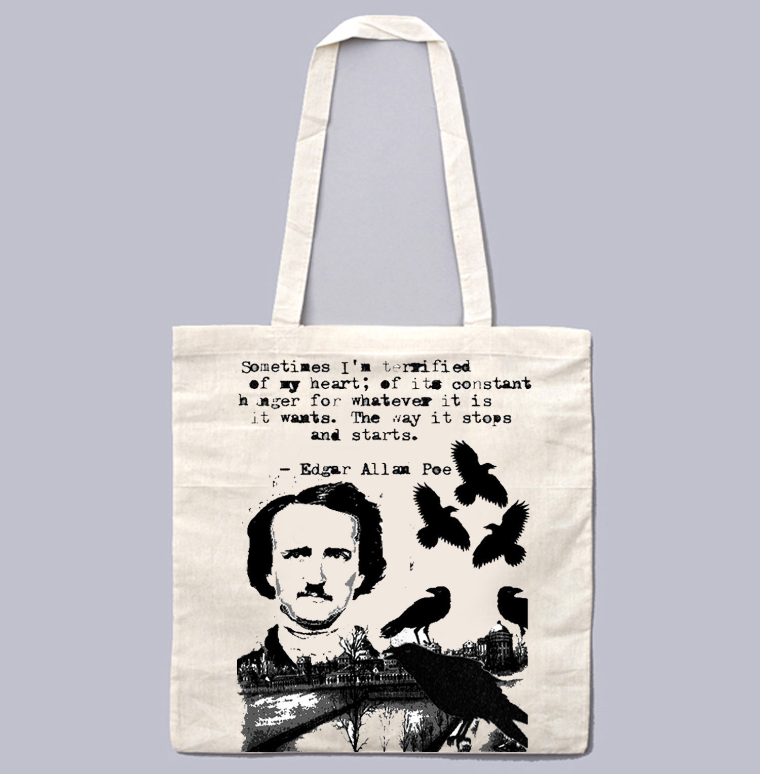 EDGAR ALAN POE SOMETIMES I AM ... - NEW AMAZING GRAPHIC WHITE HAND BAG/TOTE BAG
