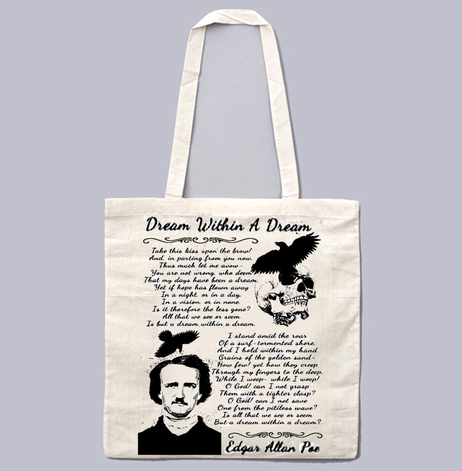 EDGAR ALAN POE DREAM WITHIN A DREAM- NEW AMAZING GRAPHIC WHITE HAND BAG/TOTE BAG