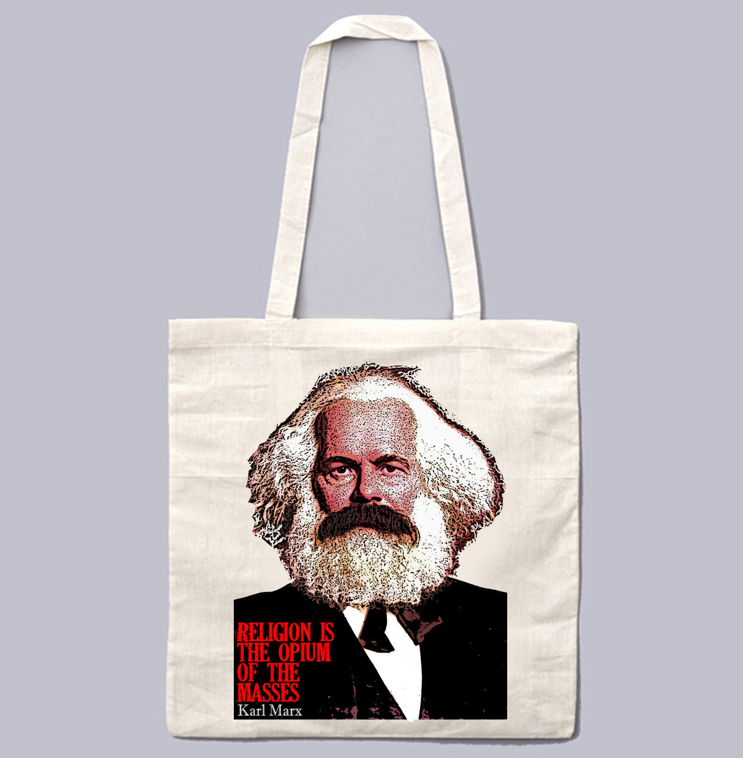 KARL MARX QUOTE ON RELIGION - NEW AMAZING GRAPHIC WHITE HAND BAG/TOTE BAG