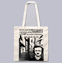 EDGAR ALAN POE MADNESS - NEW AMAZING GRAPHIC WHITE HAND BAG/TOTE BAG - $23.60