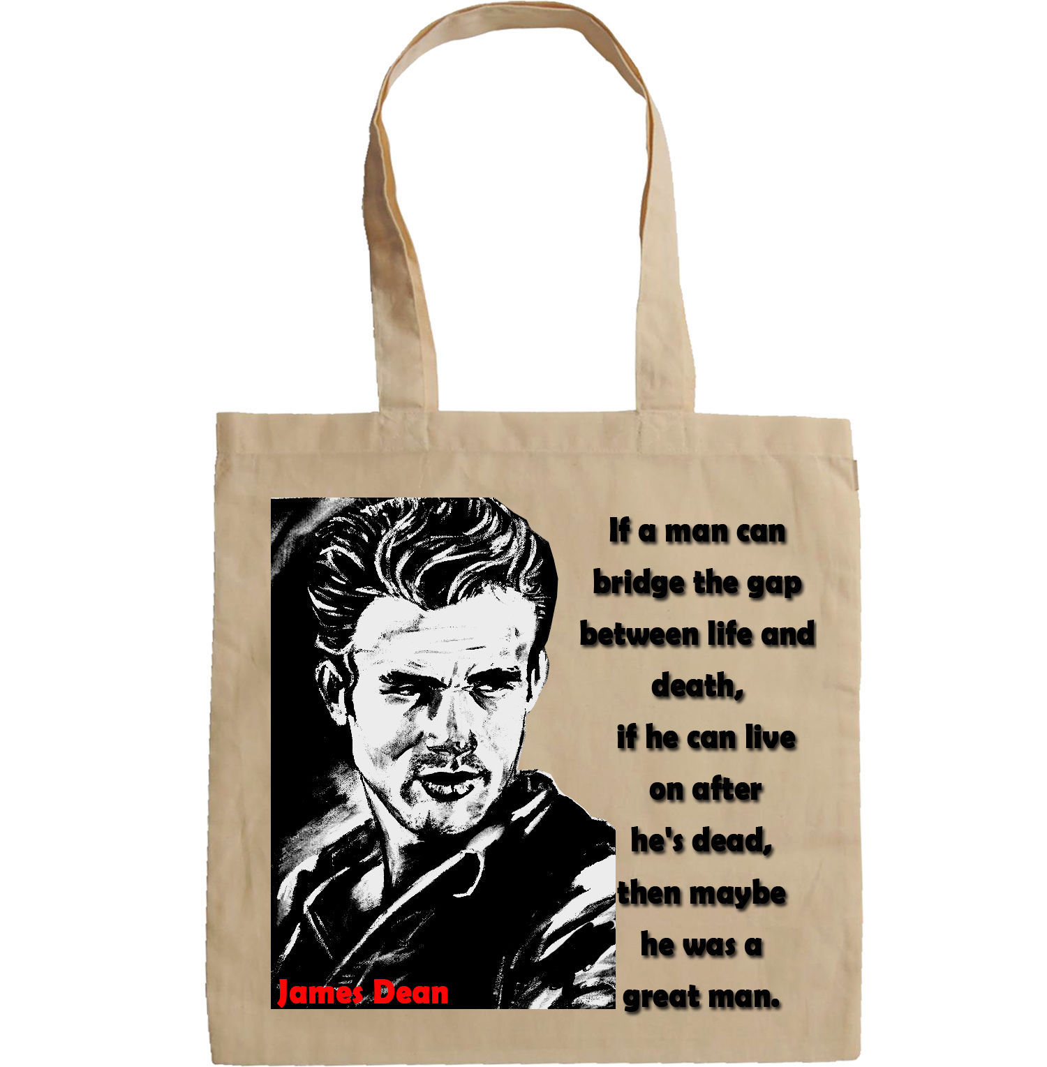 JAMES DEAN QUOTE - NEW AMAZING GRAPHIC HAND BAG/TOTE BAG