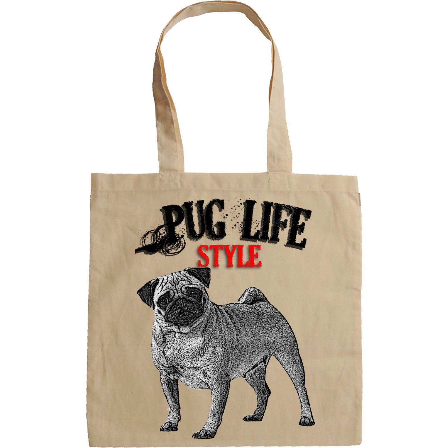 PUG GANGSTER LIFE STYLE - NEW AMAZING GRAPHIC HAND BAG/TOTE BAG