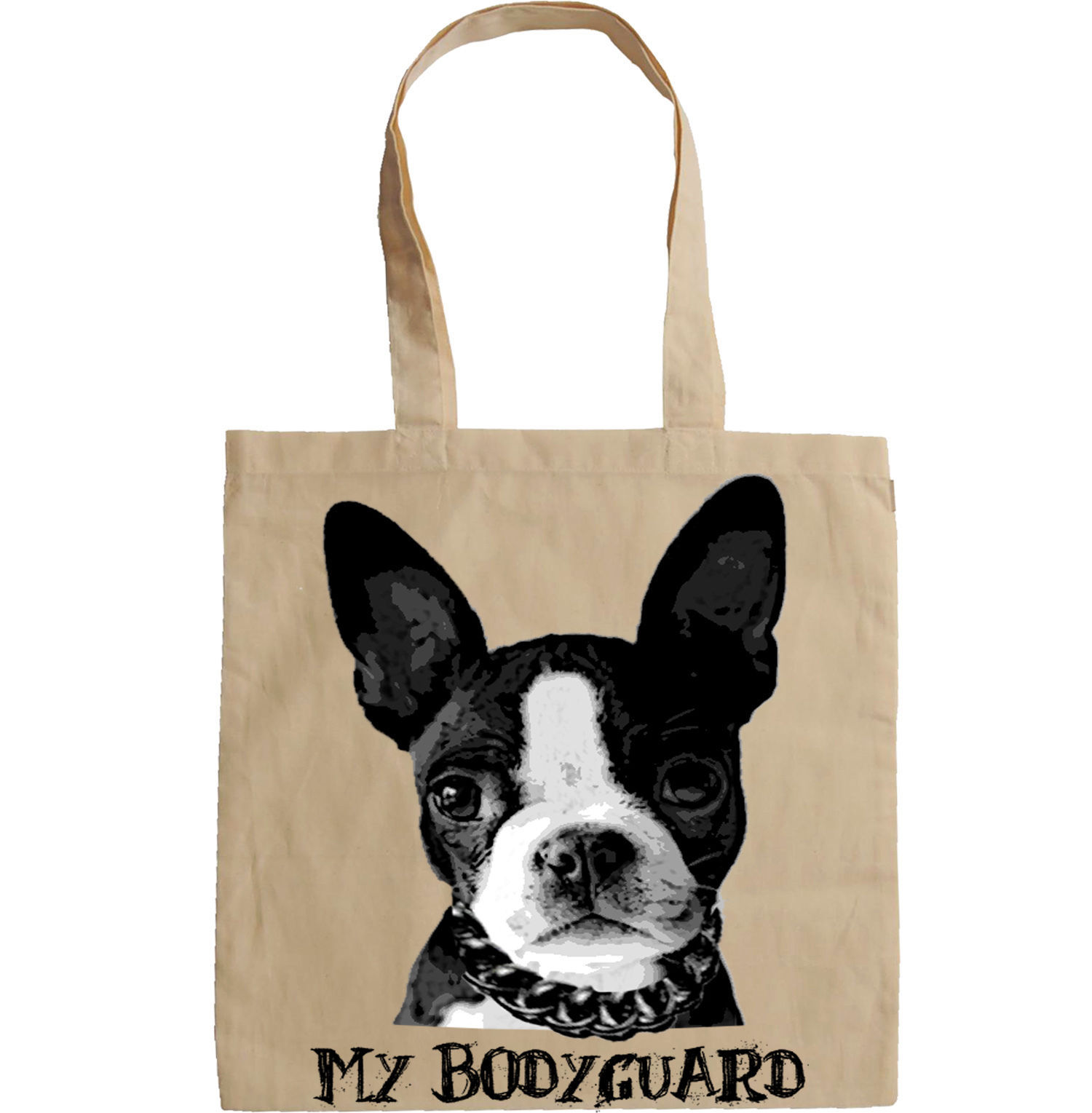 BOSTON TERRIER MY BODYGUARD - NEW AMAZING GRAPHIC HAND BAG/TOTE BAG
