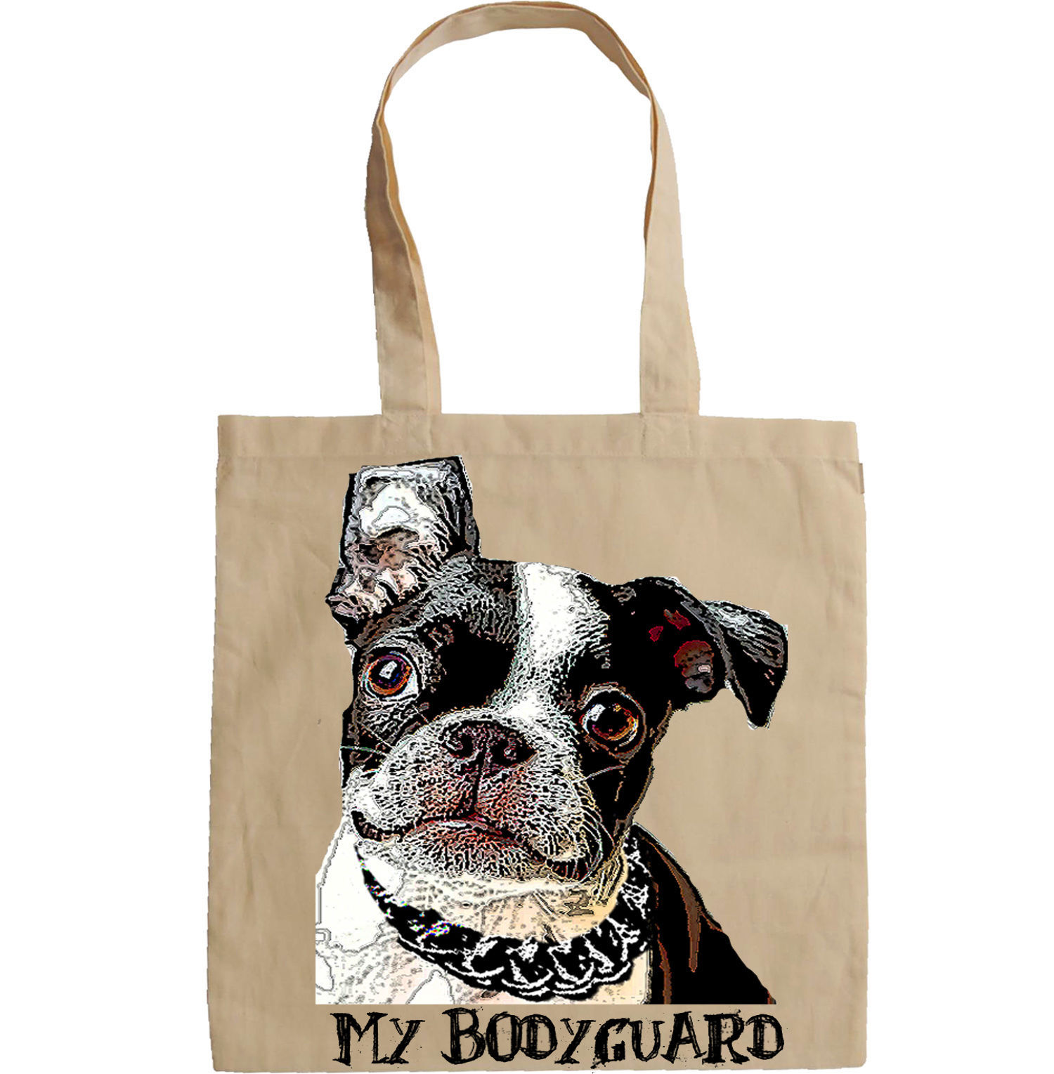 BOSTON TERRIER MY BODYGUARD 1 - NEW AMAZING GRAPHIC HAND BAG/TOTE BAG