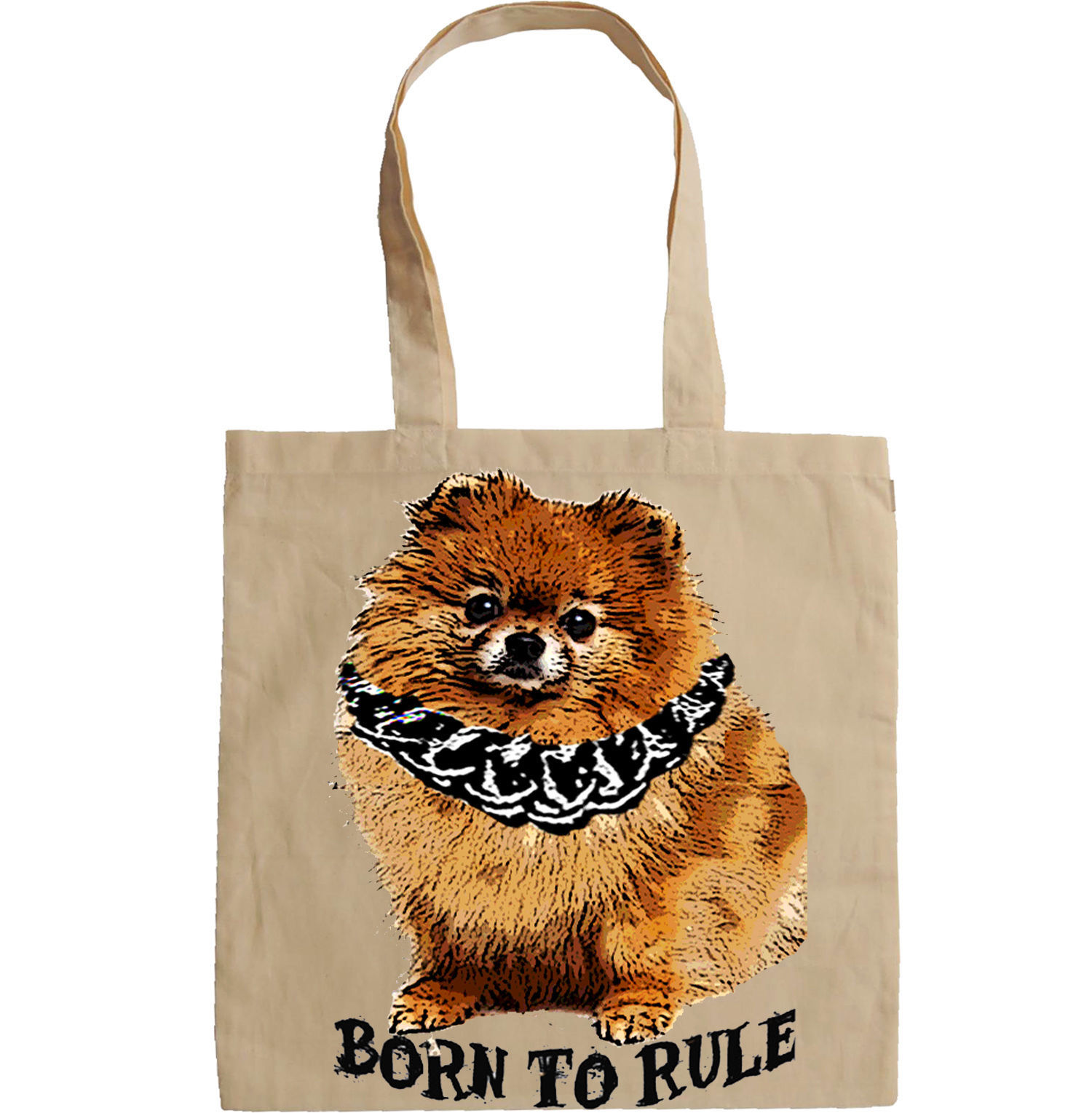POMERANIAN DOG BORN TO RULE  -  NEW AMAZING GRAPHIC HAND BAG/TOTE BAG