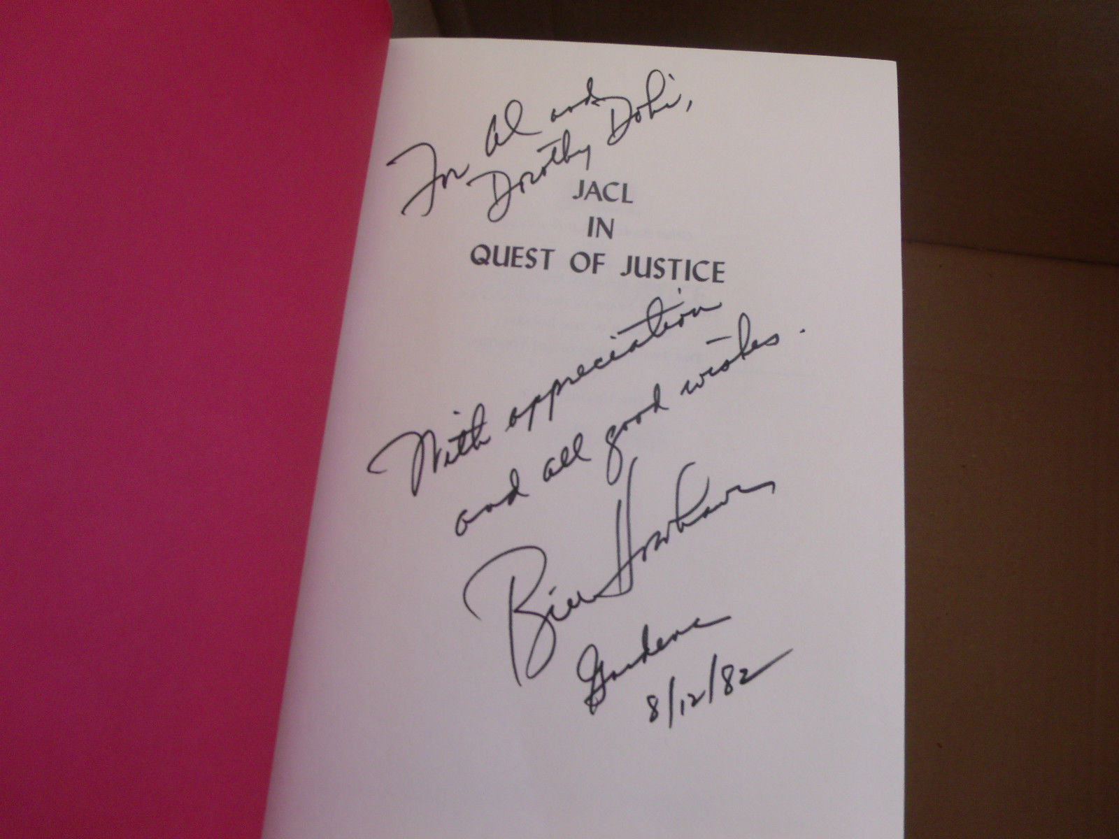 JACL Quest of Justice SIGNED by Bill Hosokawa 1ST/1ST (1982, Hardcover)