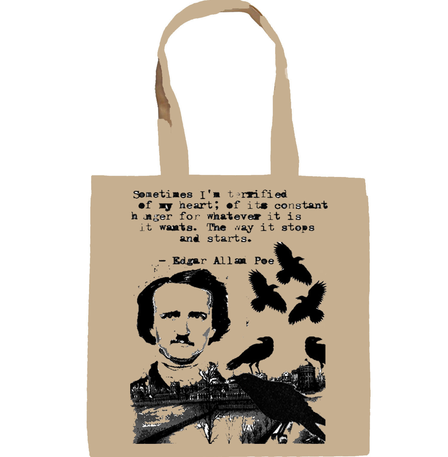 EDGAR ALAN POE SOMETIMES I AM TERRIFIED - NEW AMAZING GRAPHIC HAND BAG/TOTE BAG
