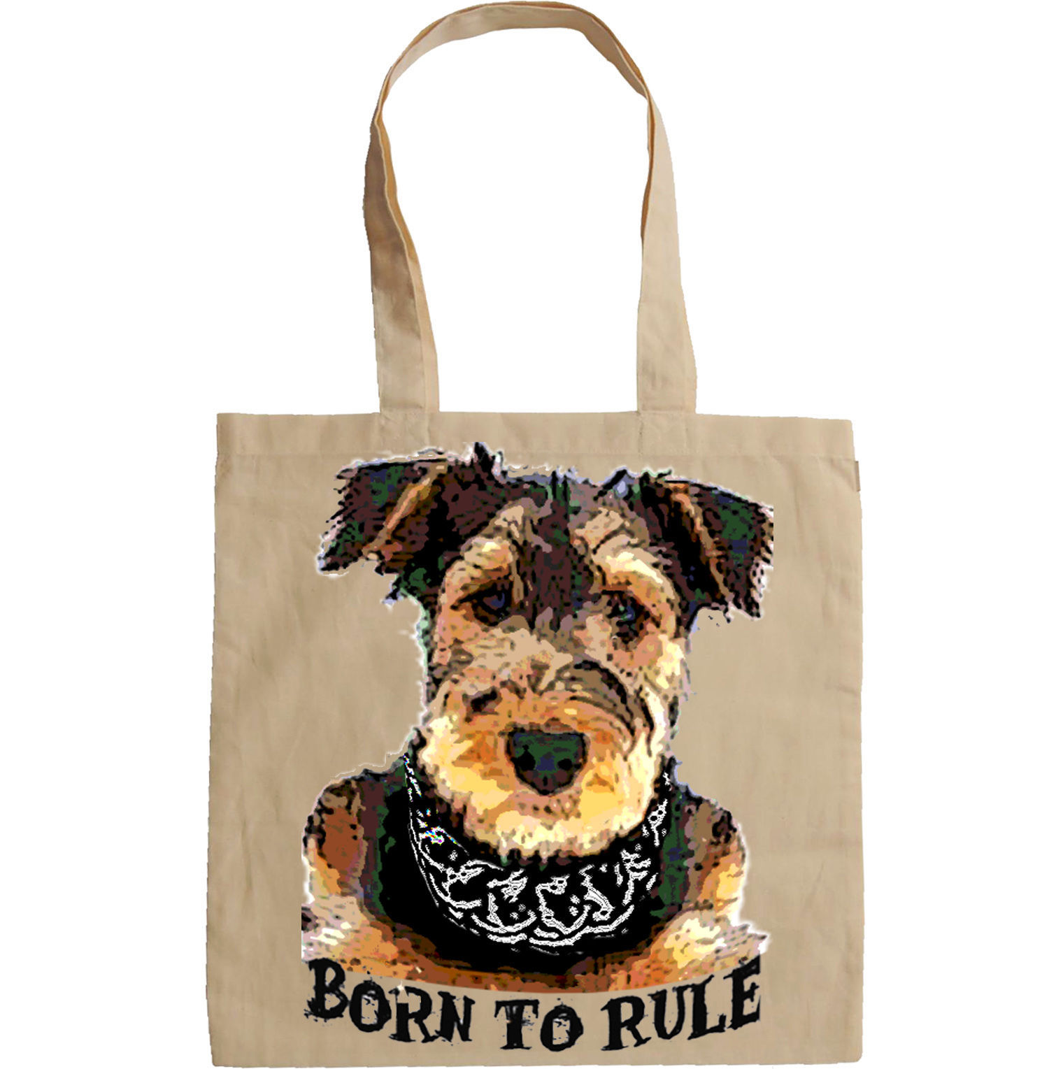 TERRIER AIREDALE BORN TO RULE -  NEW AMAZING GRAPHIC HAND BAG/TOTE BAG