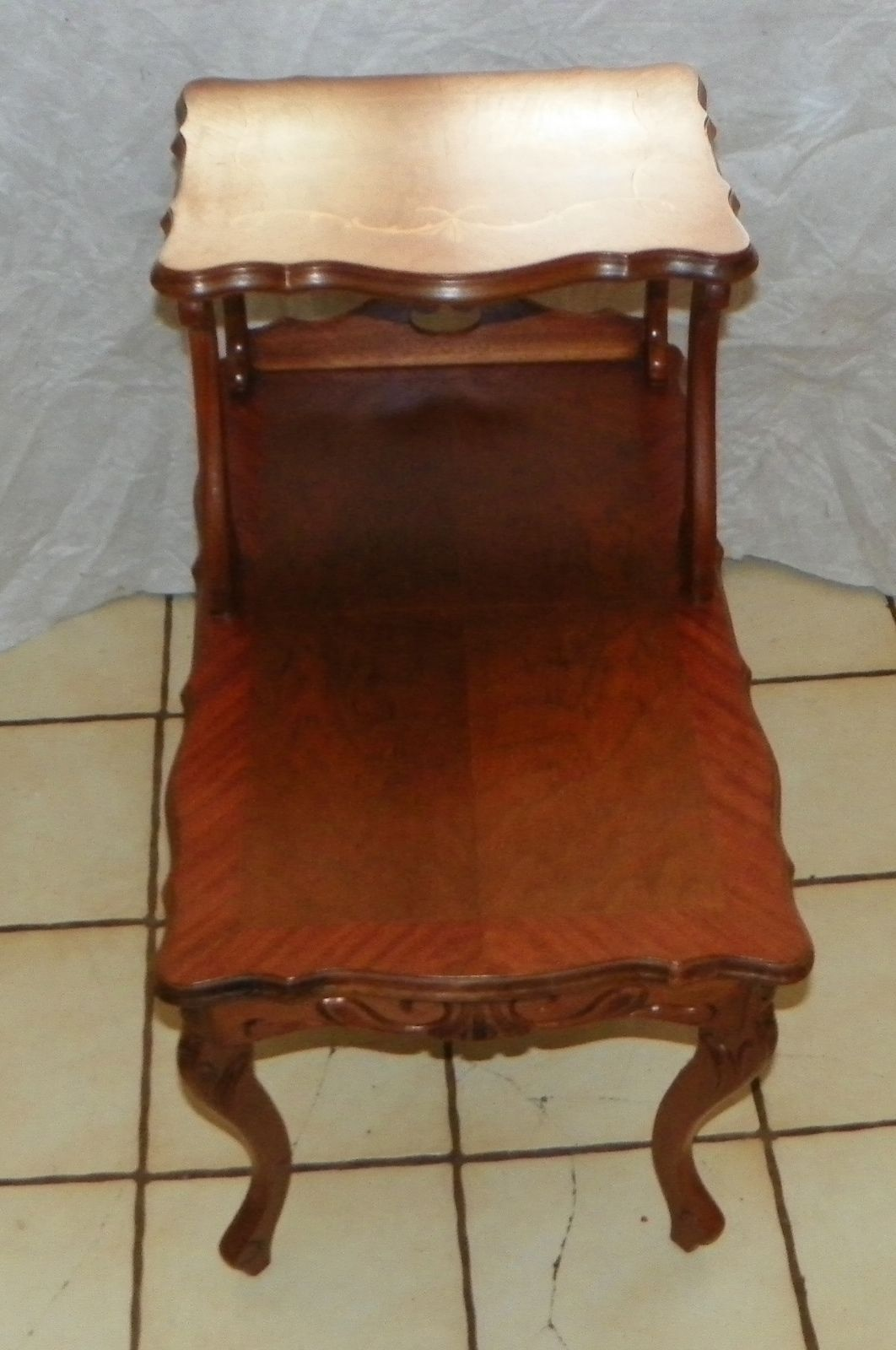 Walnut Carved Inlaid Bookmatch Veneer Step End Table  / Side Table  (T306)