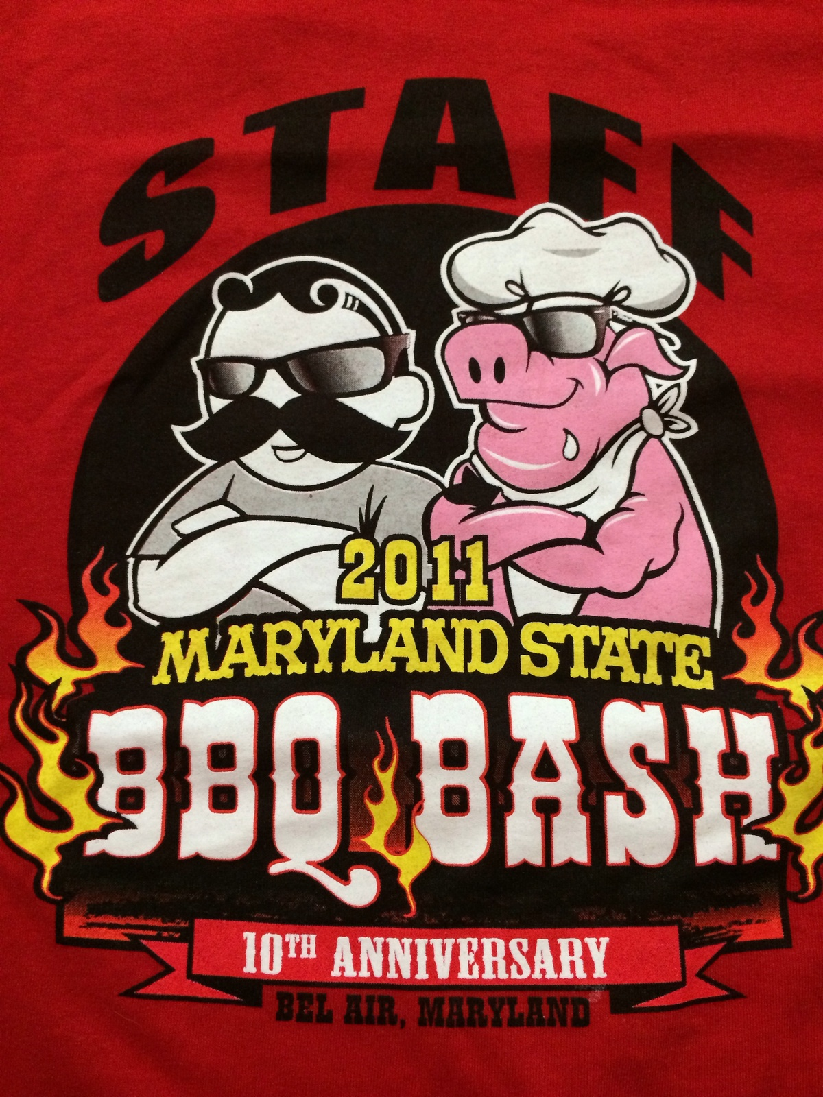 "Maryland State "" BBQ Bash "" Bel Air, Maryland T-Shirt Sz XL  10th Anniversary!"