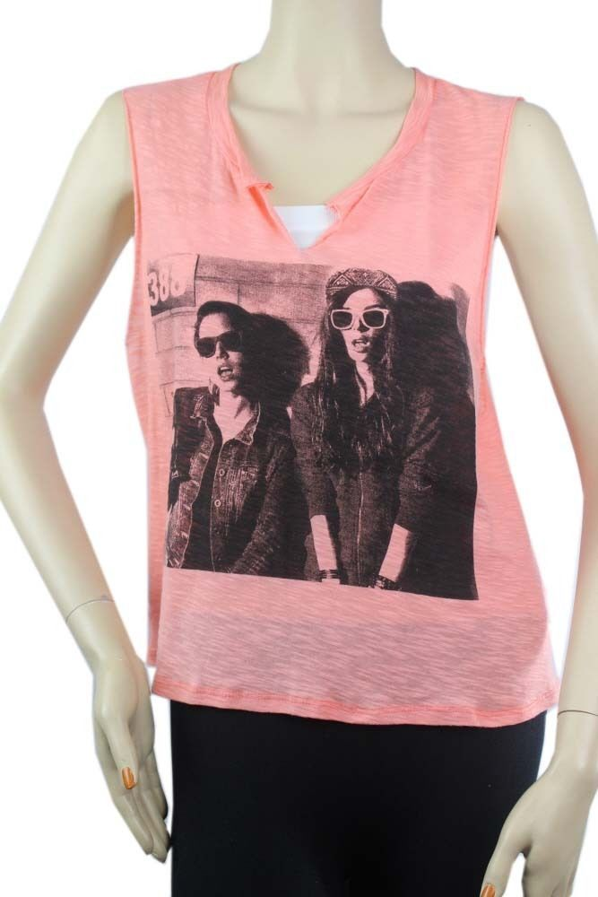 Women Face Print Deep OPEN Sleeveless Tank Top Loose Fits Casual Trendy Top SML