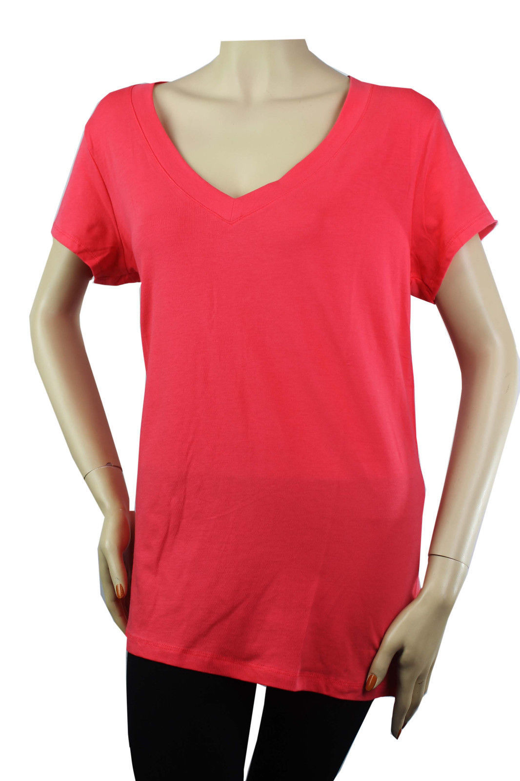 Sexy V- NECK Short Sleeve Basic T-SHIRTS Stretchy COTTON Casual Comfy Top PLUS