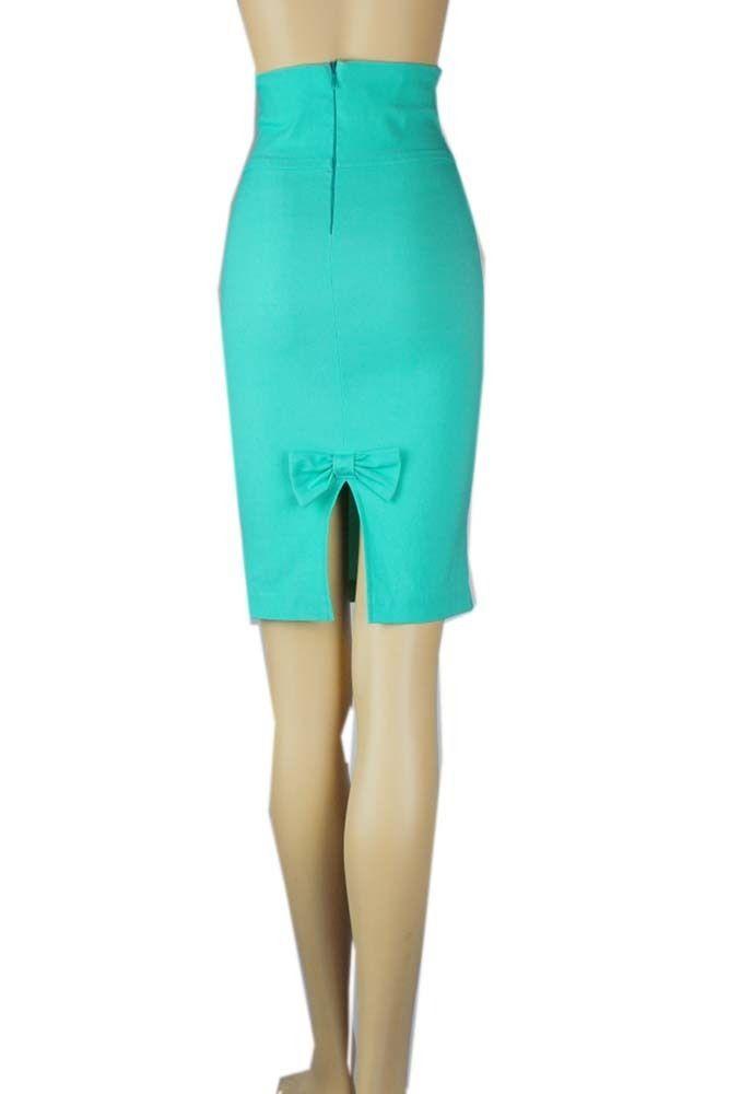 Lady High Waisted  PENCIL SKIRT w/ Zipper,Bow Back STRETCHY Cute Midi Skirt SML