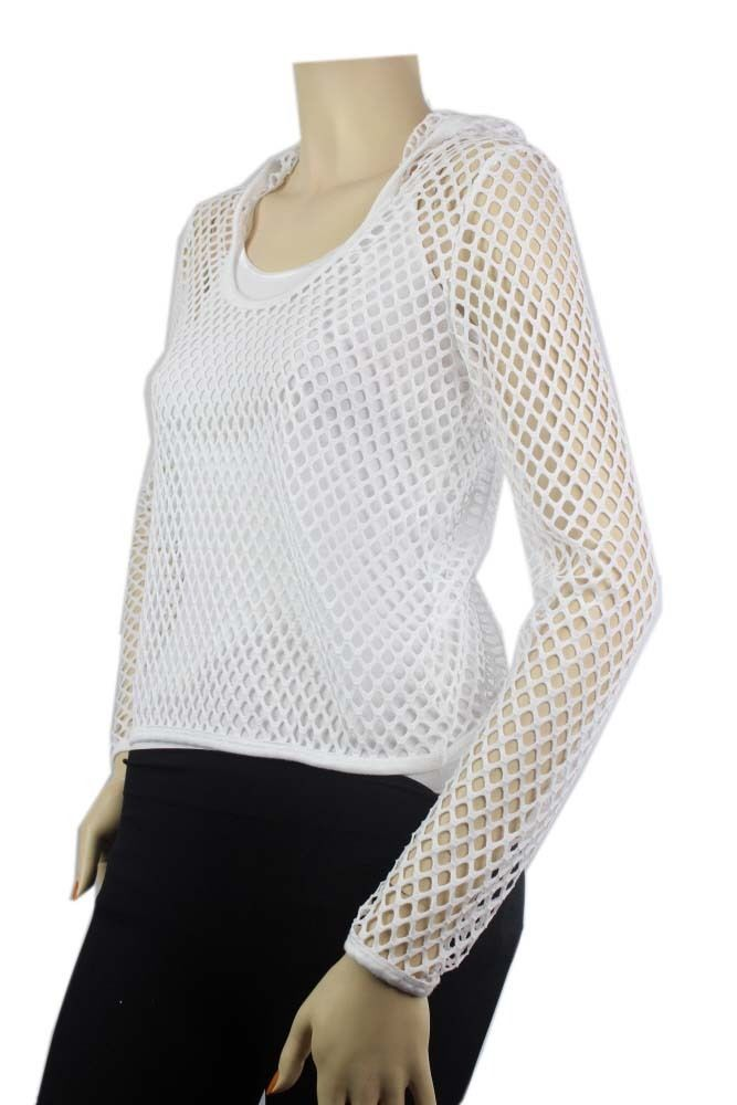 Small Hole STRETCH Mesh Hoodi Scoop Long Sleeve T-Shirts JUNIOR Layering Top SML