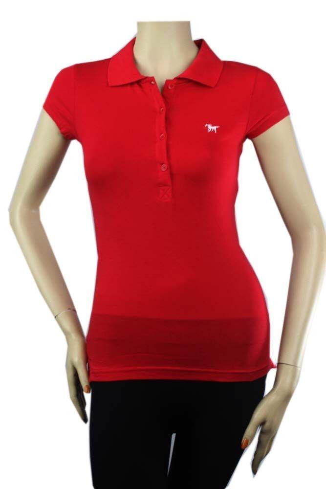 Basic 4 Button Short Sleeve Polo T-SHIRT  w/ Collar,Cotton Junior Casual Top SML