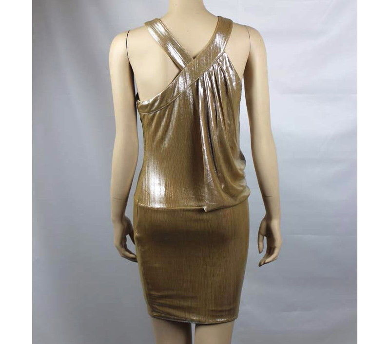 Sexy Metallic w/ Rninestone Neck DRESS Flutter Slit  V Neck Trendy Clubwear SM