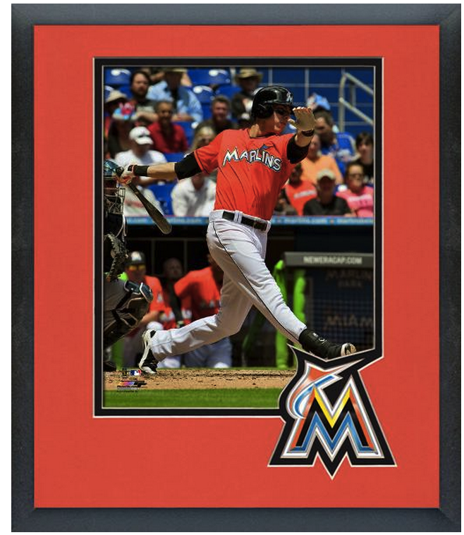 Christian Yelich 2014 Miami Marlins - 11 x 14 Team Logo Matted/Framed Photo