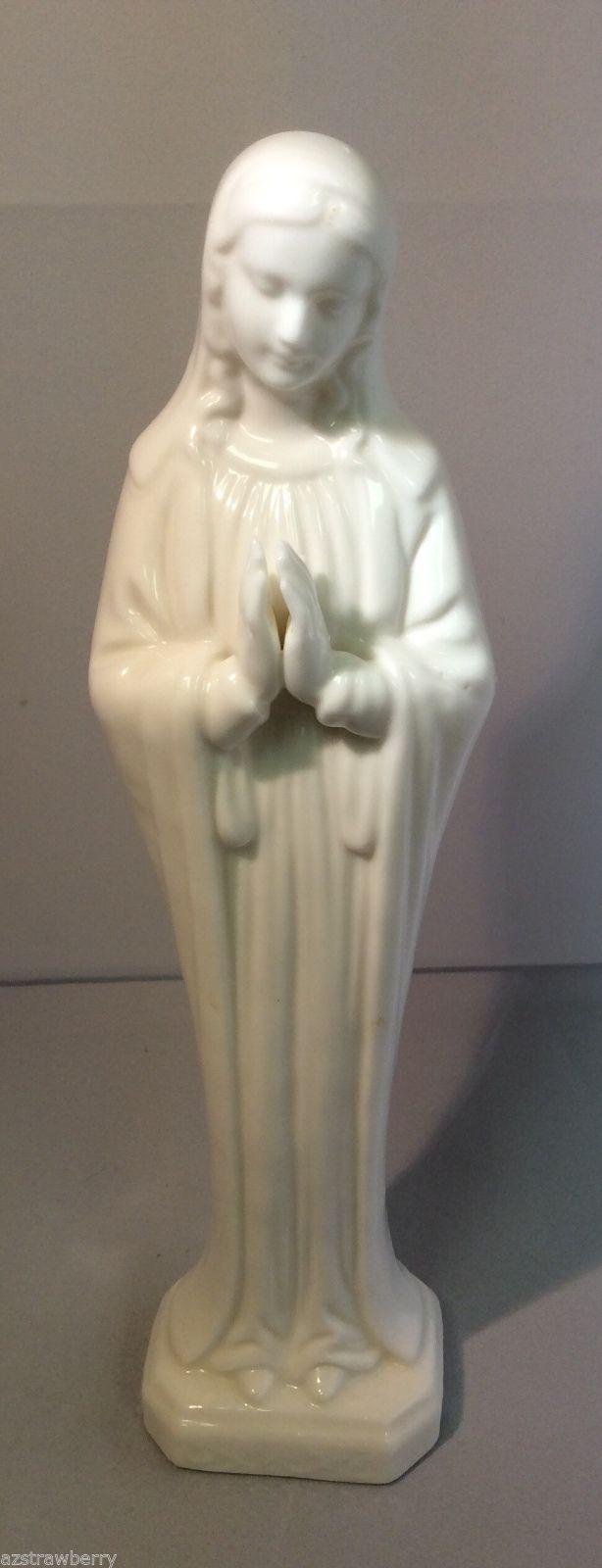 "VTG White Porcelain Bisque Praying Madonna Figurine 10"" tall"