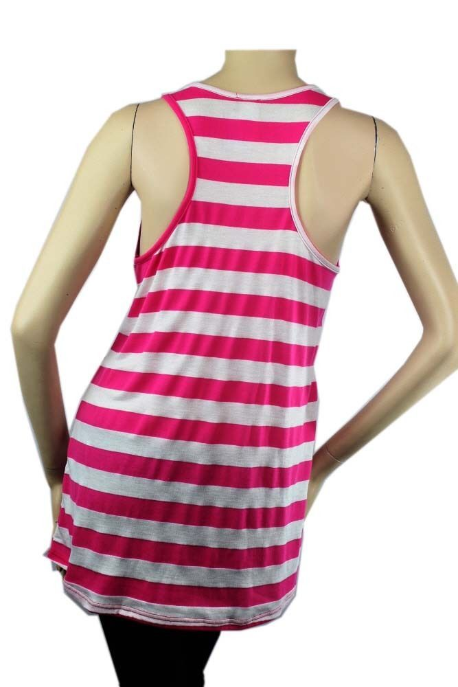 Stripe,Hart Print Scoop Neck Sleeveless Top w/ X-Back Casual TunicTrendy Top SML