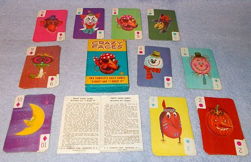 Vintage Children's Card Game Crazy Faces Complete by Fairchild