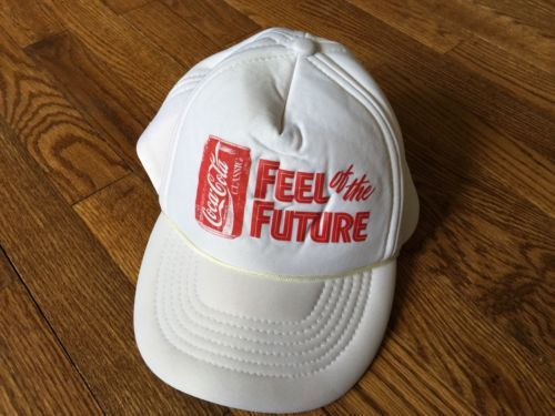 Vintage White Mesh Coca Cola Classic Feel of the Future Trucker Cap Hat Snapback