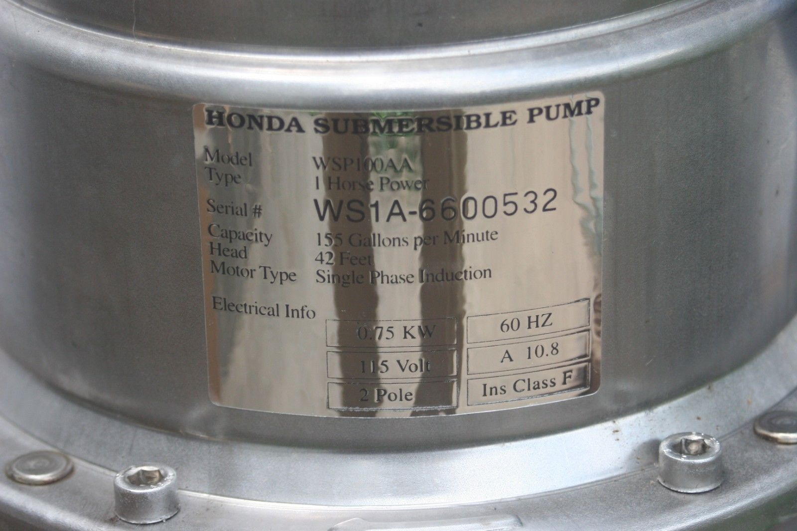 Honda Power Equipment WSP100AA Industrial Submersible Electric Trash Pump 1HP