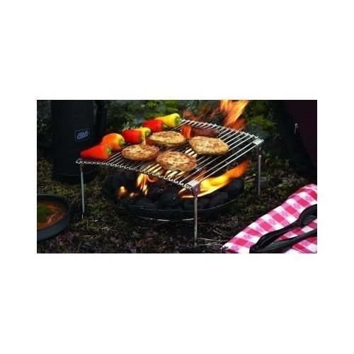 Portable Firepit Rack Grill BBQ Camp Roast Smoked Kebab Boil Steel Outdoor Saute