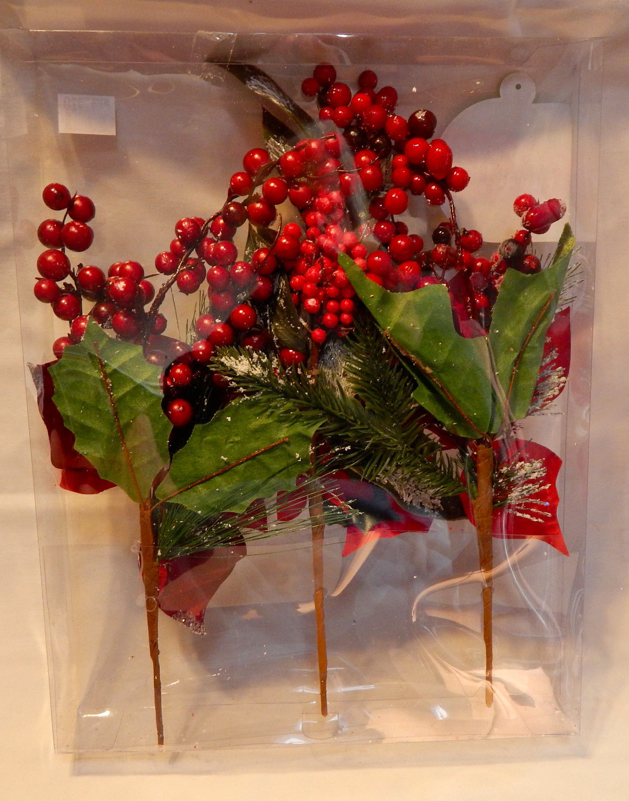 Deluxe Floral Picks Fall Decor Red Flowers All Holidays 3ea Berries & Snow 33T