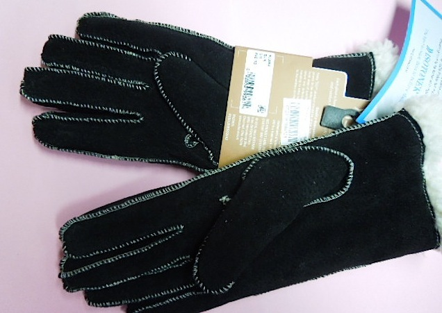 Large Isotoner Sherpa Lined, Black Soft Leather Gloves-Contrast Stitching  #6264