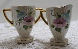Vintage PEARLESCENT Floral Print Creamer & Sugar Set - $15.00