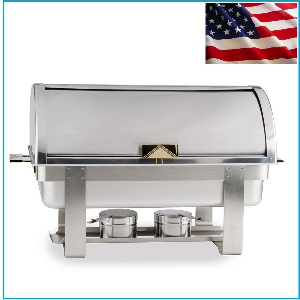 Catering Roll Top Chafer Stainless Chafing Dish Warming Tray Food Warmer Buffet